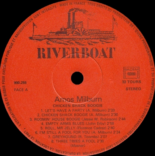 "Amos Milburn : Album "" Chicken Shack Boogie "" Riverboat Records 900.266 [ FR ]"