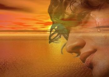 homme coucher de soleil