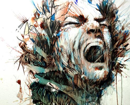 Dessin et peinture - vidéo 1828 : Un peintre, des toiles - Le chanteur aux encres colorées et au crayon graphite.