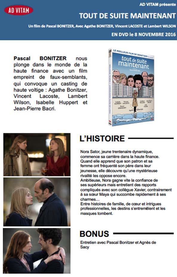 TOUT DE SUITE MAINTENANT - un film de Pascal BONITZER, en DVD le 8 novembre 2016 chez Ad Vitam