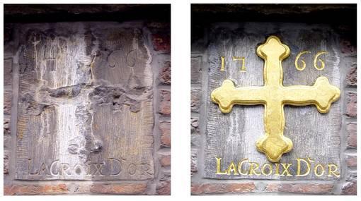 Restauration d'une enseigne en pierre: avant-après - Arts et et sculpture: sculpteur, artisan d'art