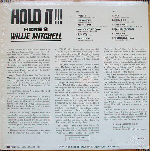 "1965 : Willie Mitchell : Album "" Hold It !!! "" Hi Records SHL 32021 [ US ]"