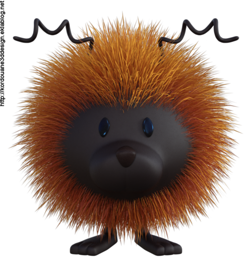 Tube mascotte boule de poil (render)