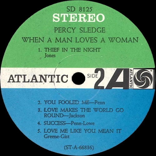 "Percy Sledge : Album "" When A Man Loves A Woman "" Atlantic Records SD 8125 [ US ]"