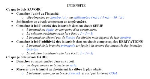 1-L'intensité électrique, I
