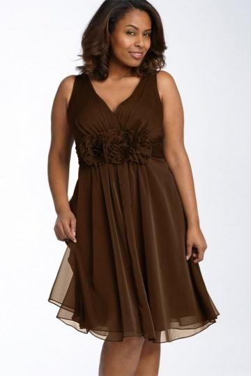 Robe grande taille sobre courte pour mariage en tencel