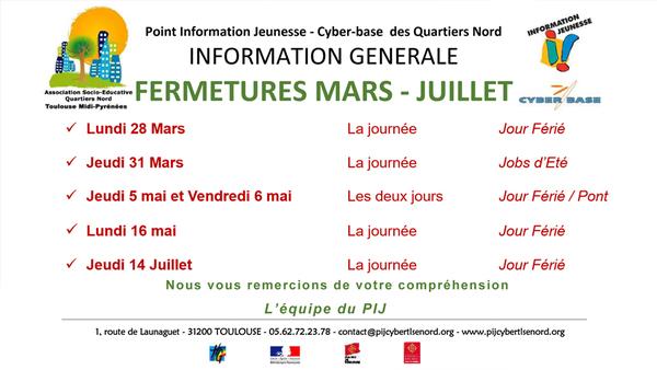 Fermetures Mars - Juillet du PIJ