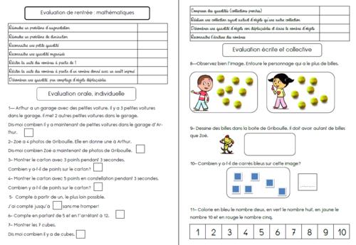 Evaluation de rentrée CP en maths