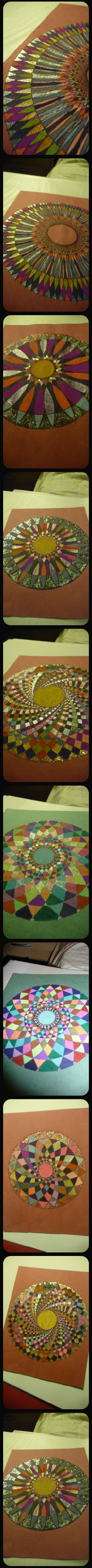 Blog de mimipalitaf : mimimickeydumont : mes mandalas au compas, mandalas aux stylos pailletés sur cahier (bonne journée à vous tous, ici trois degrés...)