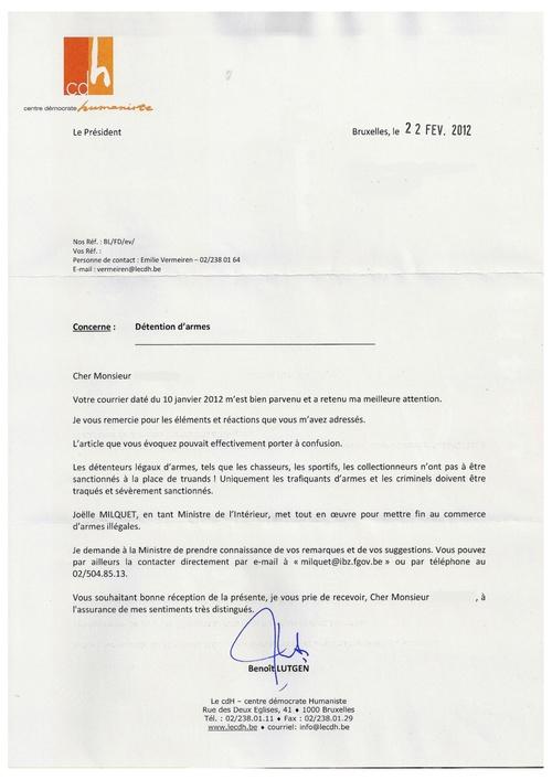 Réponse de Benoit Lutgen suite à mon email du 10 janvier dernier