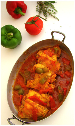 "POULET AUX POIVRONS ET AU CURRY,""Weight Watchers"""
