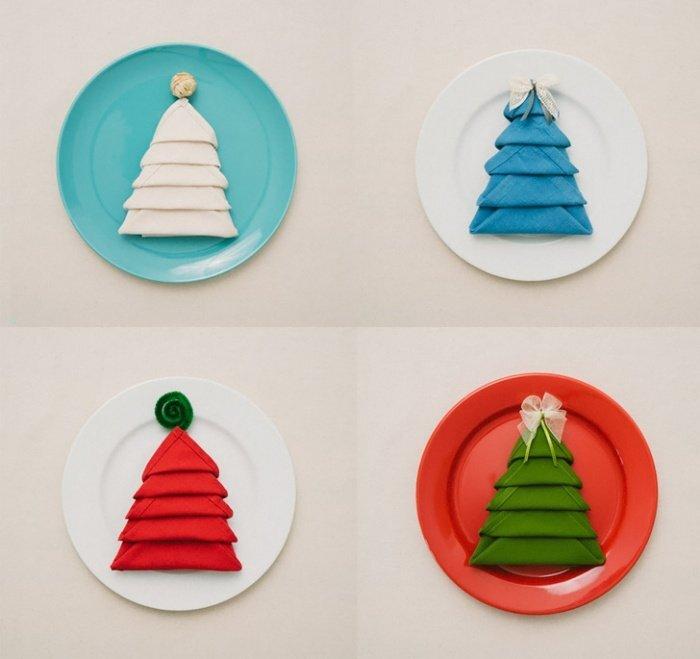 pliage-serviette-Noel-sapin-Noel-coloré pliage de serviette pour Noël