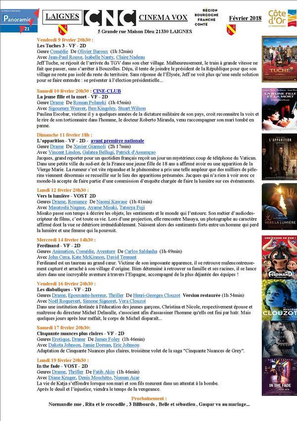 Programme du Cinéma Vox de Laignes