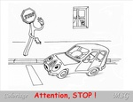 Coloriage : Attention, stop !