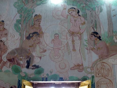Sarnath;le temple bouddhiste Mulagangha Kuty Vihara; les fresques.