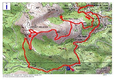 Le Mont Helena (776 m) depuis Caixas (363 m)