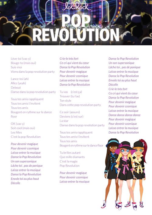 lolirock parole révolution pop