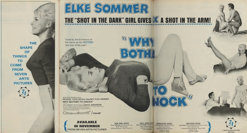 WHY BOTHER TO KNOCK BOX OFFICE USA 1964 ELKE SOMMER