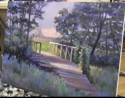 Dessin et peinture - vidéo 2012 : Le pont de bois à la lisière de la forêt - peinture à l'huile au couteau.
