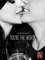 You're the Worst : Plus d'information sur allocine Quand deux personnalités toxiques tentent une ébauche de relation. Jimmy, un écrivain égoïste, tombe sous le charme de Gretchen, une jeune femme auto-destructrice. Contre toute-attente, le courant passe entre les deux spécimens. ...-----... Nombre de saison(s) : 2  Nombre d'épisode(s) : 23  Origine : U.S.A.  Réalisateur : Stephen Falk  Acteurs : Chris Geere, Aya Cash, Desmin Borges, Kether Donohue, Samira Wiley  Genre : Comédie  Durée : 30 Statut : En production  Année de commencement : 2014  Titre original : You're The Worst  Critiques Spectateurs : 4.1
