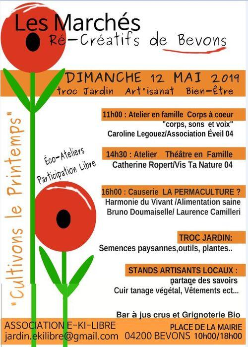 *Marché Ré-créatif 12 Mai à Bevons