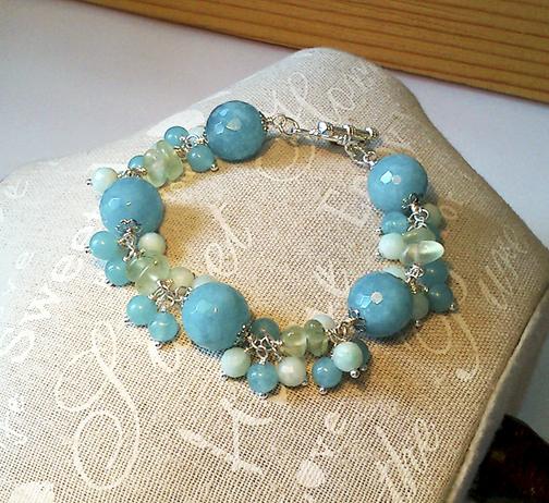Bracelet Grappe Pierre de Quartz bleu, Prehnite et Amazonite / Plaqué argent