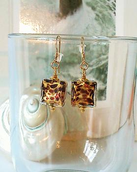 Réservé - Boucles Verre de Murano authentique carrés feuille d'or 24 kt léopard / Plaqué Or 14kt Gold filled