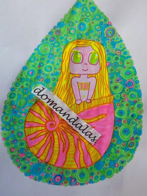 DOMANDALAS  coloriage petite sirène dans son coquillage