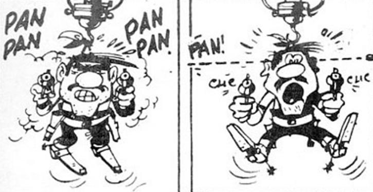 Lucky Luke, « Le Hors-la-loi », Morris, 1951. Vignettes censurées.
