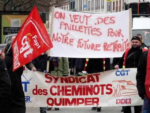 Lors de la manifestation du 11 janvier 2020, à Quimper.
