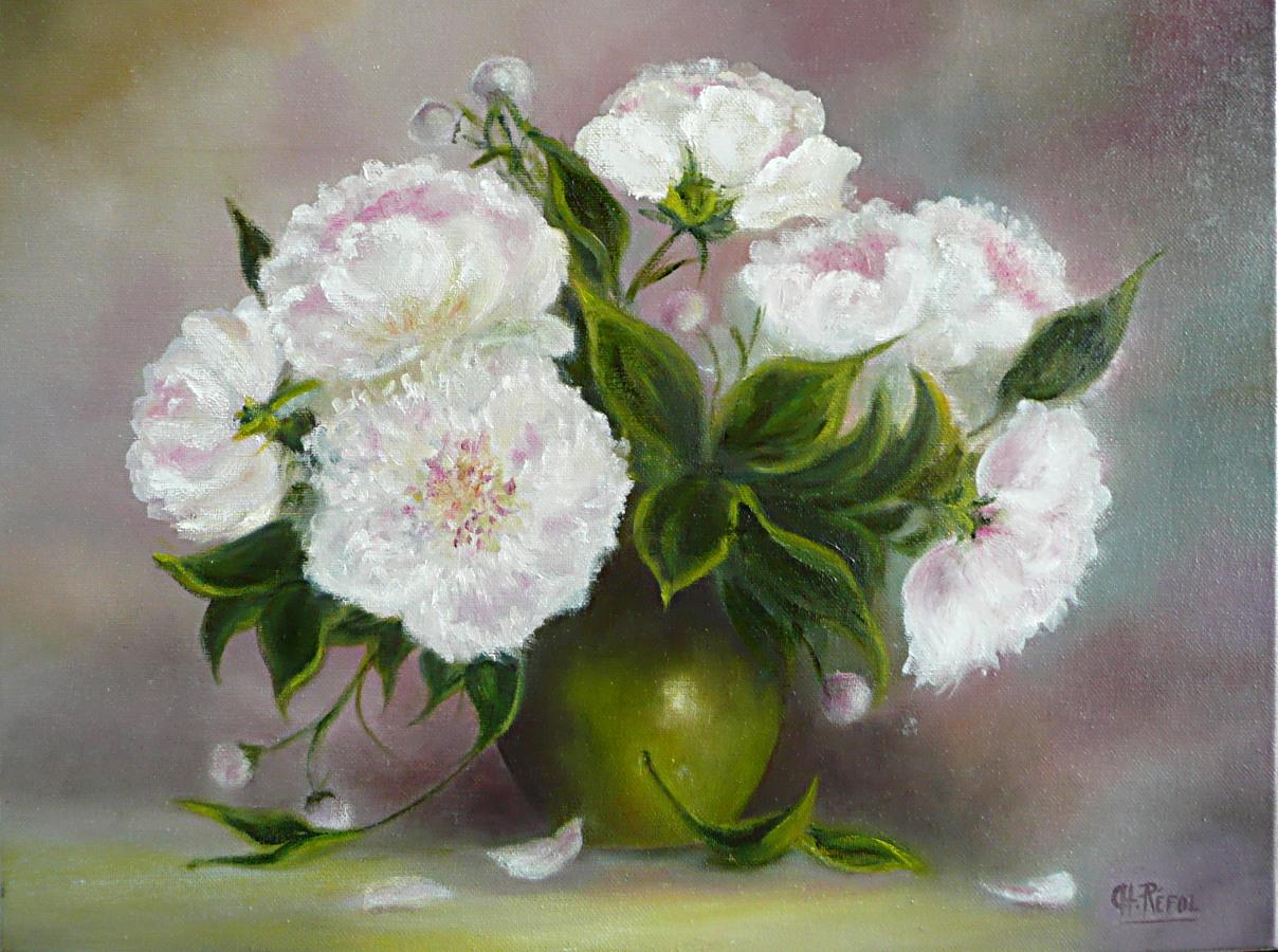 Peinture Pivoines dans un vase