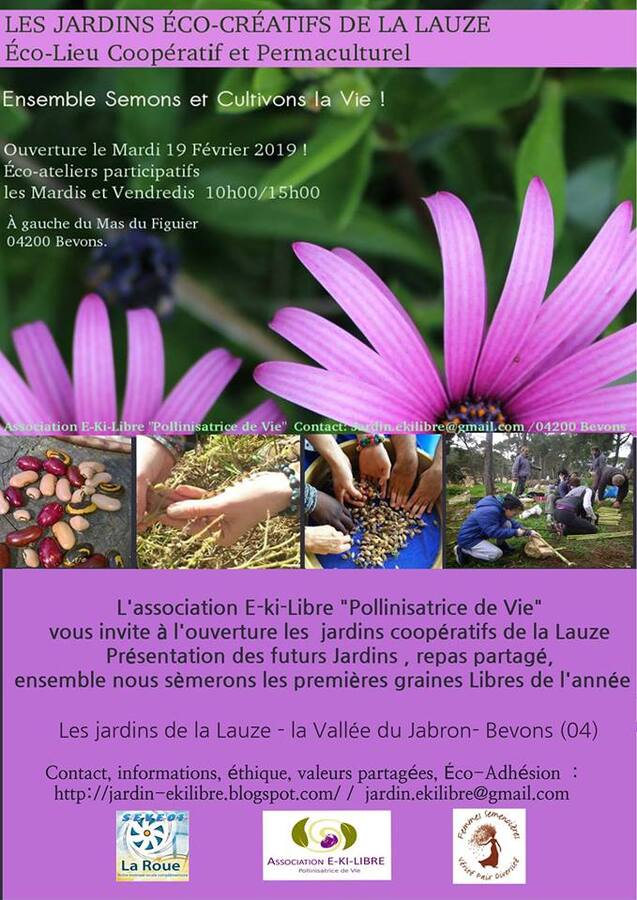 *Ouverture des jardins éco-créatifs de la Lauze -Mar 19 / 02 / 19
