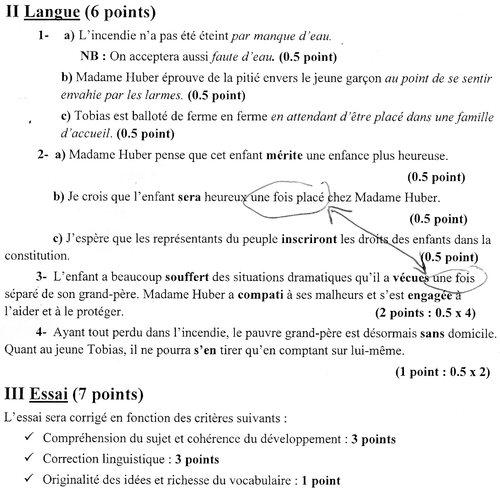اصلاح اختبار الفرنسية من امتحان شهادة ختم التعليم الأساسي العام دورة 2013