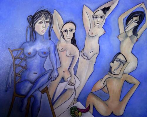 Victoire chez les Demoiselles d'Avignon. (Peinture à l'huile)