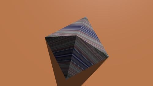 Le rendu de la texture sur la pyramide quand on incline le calque