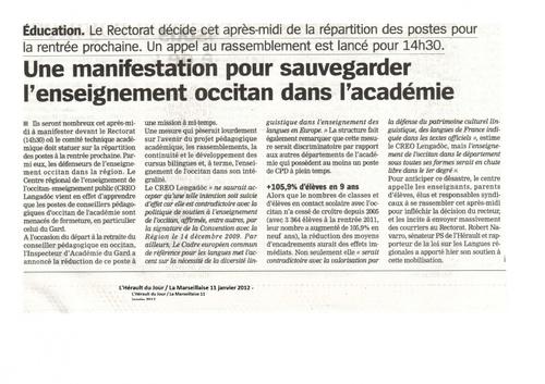 Article de presse paru dans La Marseillaise du 11/01/12