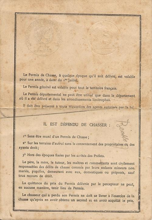 permis de chasse 1926