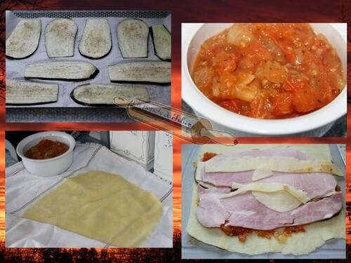 Lasagnes roulées a l'aubergine et jambon