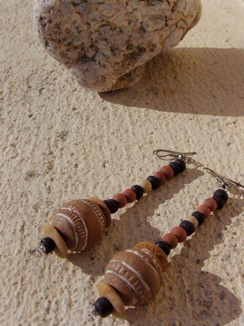 Boucles d'oreilles en terre cuite