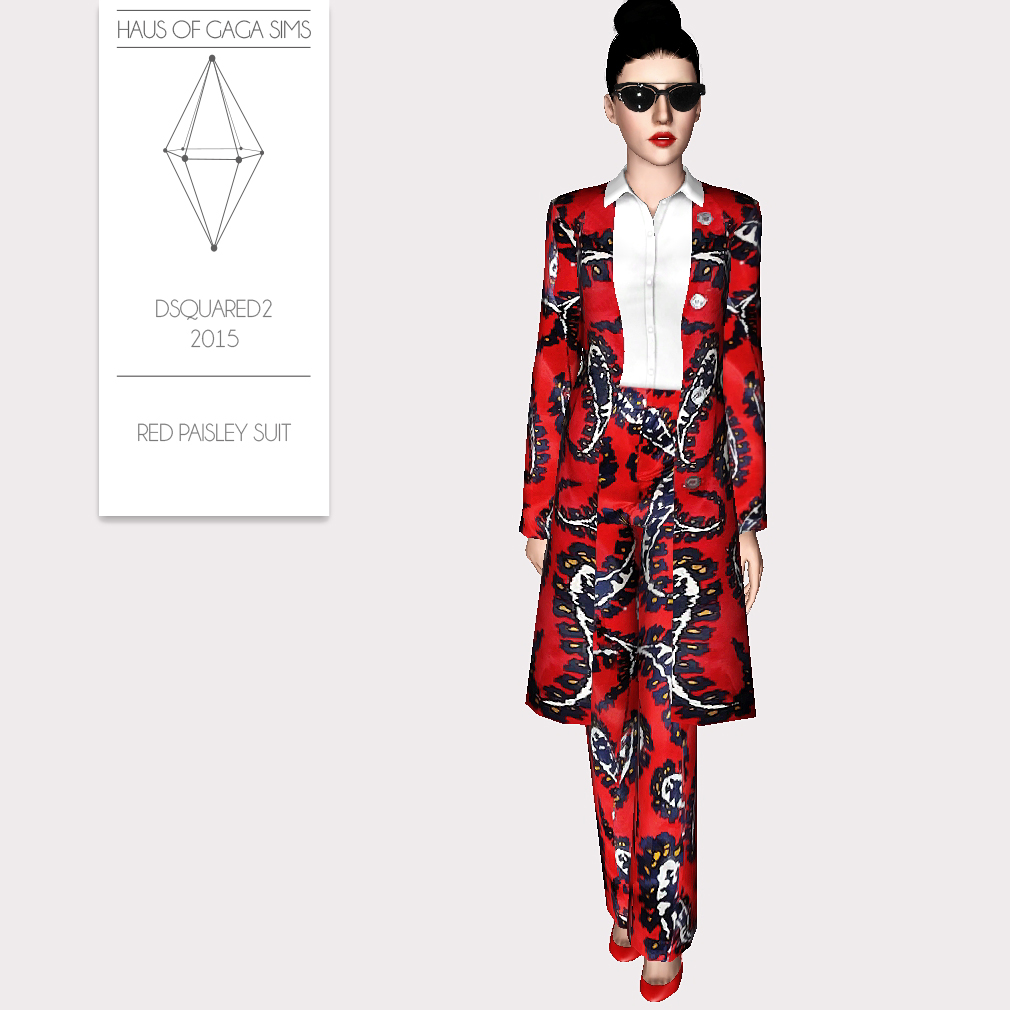DSQUARED2 2015 RED PAISLEY SUIT