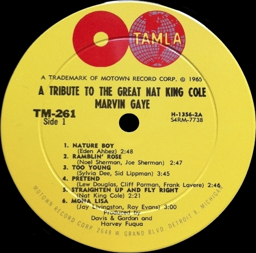 "Marvin Gaye : Album "" A Tribute To The Great Nat King Cole "" Tamla Records TS 261 [ US ]"