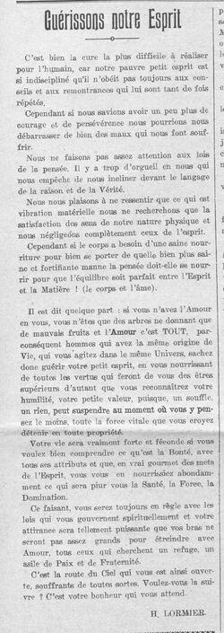 H. Lormier - Guérissons notre Esprit (Le Fraterniste, 15 mars 1928)