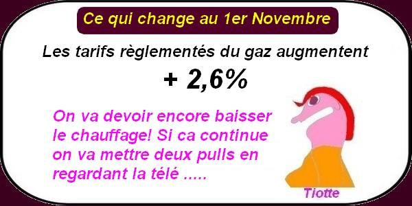 Les augmentations et nouveautés au 1er novembre.