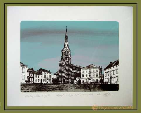 """Sérigraphies """"Villes et villages"""": Place de l'Eglise à Rebecq, inspirée d'une carte postale ancienne - Arts et sculpture: peintre, illustrateur, sculpteur"""