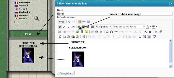 Créer un module simple dans le menu. Eklablog