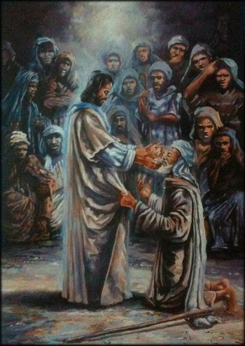 Jesus guérissant un aveugle