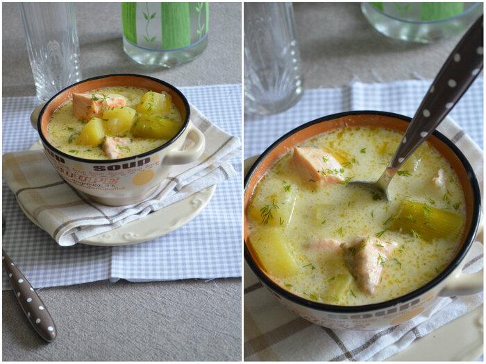 Soupe Crémeuse de Saumon & Poireaux
