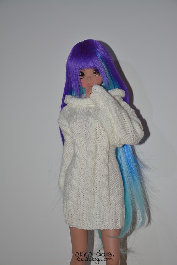 Tricot Robe Pull Blanche V1