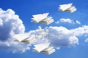 7114489-composite-of-note-books-and-sky