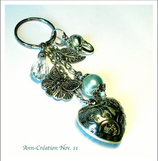 Porte-clés / Bijoux de Sac Coeur - Papillon / Bleu Menthe / Métal argenté